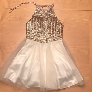 Masquerade Formal Gold Sequin & Ivory Tulle Dress